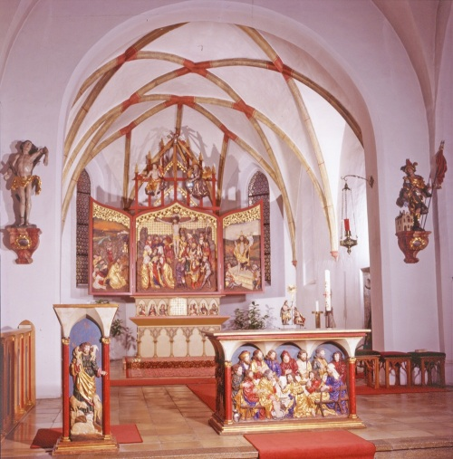 Church interior wood carvings